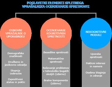 Poglavitni elementi spletnega vprašalnika za ocenjevanje spretnosti